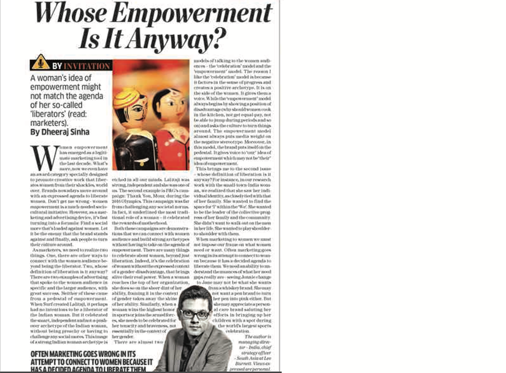 Looking beyond women Empowerment