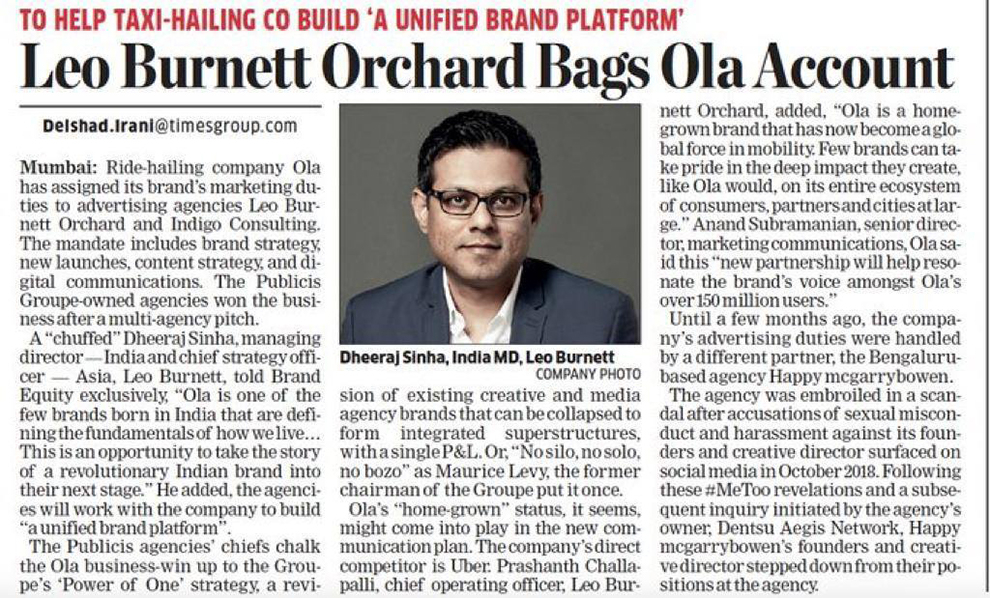 OLA books a ride with Leo Burnett