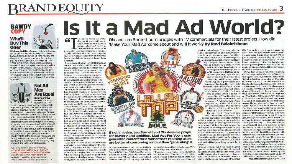 Brand Equity gives a thumbs-up to #OLXMadAds